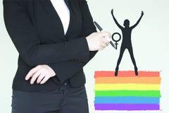 Concetto della donna di femminismo Siluetta di Fotografie Stock Libere da Diritti