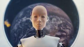 Concetto della fantascienza femminile del ritratto di umanoide futuristico nello stile del fondo dei cavi e del metallo illustrazione di stock