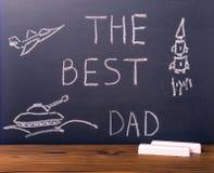 Concetto della festa del papà con testo scritto a mano il migliori papà e p Fotografia Stock Libera da Diritti
