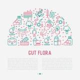 Concetto della flora dell'intestino nel semicerchio royalty illustrazione gratis
