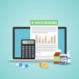 Concetto della forma dell'assicurazione malattia Documenti medici di riempimento Calcolatore, droghe, soldi illustrazione vettoriale