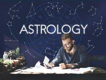 Concetto della galassia di fantasia della costellazione della cometa di astrologia fotografie stock