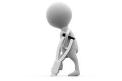 concetto della gamba rotta dell'uomo 3d Fotografia Stock Libera da Diritti