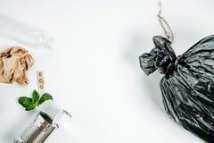 Concetto della gestione dei rifiuti Latta di alluminio e foglia verde sul Whi Immagine Stock Libera da Diritti