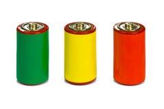 Concetto della gestione di energia - verde, colore rosso e colore giallo Immagini Stock