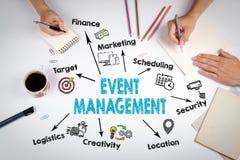 Concetto della gestione di evento La riunione alla tavola bianca dell'ufficio Immagini Stock Libere da Diritti