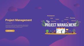 Concetto della gestione di progetti con il calendario di affari e la gente del gruppo per l'insegna del homepage di atterraggio d illustrazione vettoriale