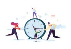 Concetto della gestione di tempo Processo piano di organizzazione dei caratteri Gente di affari che lavora insieme Team Work Illustrazione Vettoriale