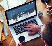 Concetto della gestione di vendita di affari globali di economia Fotografia Stock