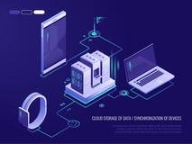 Concetto della gestione della rete di trasmissione di dati Vector la mappa isometrica con i server, i computer ed i dispositivi d illustrazione di stock
