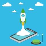 Concetto della giovane impresa per sviluppo mobile di app Immagini Stock