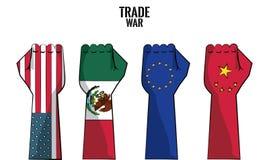 Concetto della guerra commerciale illustrazione di stock