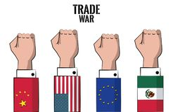 Concetto della guerra commerciale illustrazione vettoriale