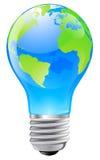 Concetto della lampadina del globo del mondo Immagini Stock