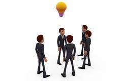concetto della lampadina del gruppo dell'uomo 3d Fotografie Stock