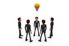 concetto della lampadina del gruppo dell'uomo 3d Fotografia Stock
