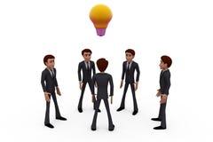 concetto della lampadina del gruppo dell'uomo 3d Immagini Stock