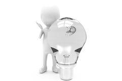 concetto della lampadina dell'uomo 3d Immagini Stock