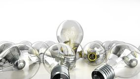 concetto della lampadina di idea con l'idea di parola dentro fondo per Fotografia Stock