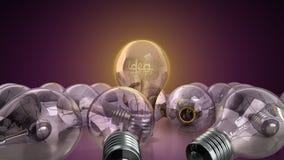 concetto della lampadina di idea con l'idea di parola dentro fondo per Fotografia Stock Libera da Diritti