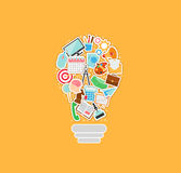 Concetto della lampadina Manifesto degli elementi di scarabocchio Illustrazione di vettore delle icone Illustrazione di Stock
