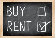 Concetto della lavagna del buy di affitto non fotografia stock libera da diritti