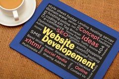 Concetto della lavagna di sviluppo del sito Web con il collage di parola Fotografia Stock