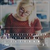 Concetto della lettera di alfabeto della tastiera di Digital del bottone della tastiera Fotografia Stock Libera da Diritti