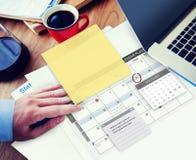 Concetto della lista di controllo di ordine del giorno di compito del pianificatore di programma Fotografie Stock