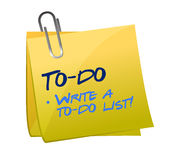 Concetto della lista di da fare su un Post-it Fotografia Stock