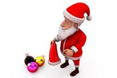 concetto della luce di natale di 3d il Babbo Natale Fotografie Stock