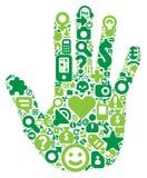 Concetto della mano umana verde Fotografia Stock