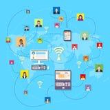 Concetto della mappa di mondo di Media Communication del sociale Immagini Stock
