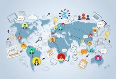 Concetto della mappa di mondo di Media Communication del sociale Immagine Stock Libera da Diritti