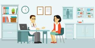 Concetto della medicina con medico ed il paziente nello stile piano illustrazione di stock