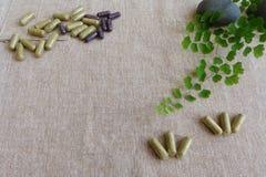 Concetto della medicina di erbe, fondo di tela Fotografie Stock