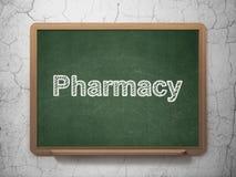 Concetto della medicina: Farmacia sul fondo della lavagna Immagine Stock Libera da Diritti