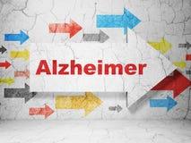 Concetto della medicina: freccia con Alzheimer sul fondo della parete di lerciume Fotografia Stock