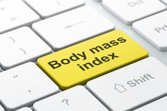 Concetto della medicina: Indice di massa corporea sul fondo della tastiera di computer Immagini Stock