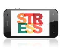 Concetto della medicina: Smartphone con lo sforzo su esposizione Fotografia Stock Libera da Diritti