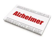 Concetto della medicina: titolo di giornale Alzheimer Immagine Stock Libera da Diritti