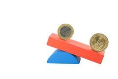 Concetto della moneta del dollaro americano e dell'euro Immagine Stock