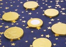 Concetto della moneta dell'oro di Unione Europea euro Fotografie Stock