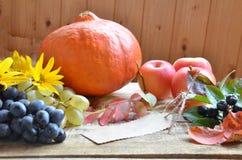 Concetto della natura di autunno Cena di ringraziamento, celebrazione della tavola del ringraziamento Frutta e verdure vegetarian Fotografie Stock Libere da Diritti