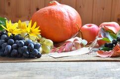 Concetto della natura di autunno Cena di ringraziamento, celebrazione della tavola del ringraziamento Frutta e verdure vegetarian Immagine Stock Libera da Diritti