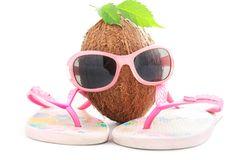 Concetto della noce di cocco per l'agenzia di viaggi con gli occhiali da sole ed il beachwear fotografia stock libera da diritti