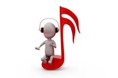 concetto della nota di musica dell'uomo 3d Fotografia Stock