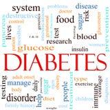 Concetto della nube di parola del diabete Immagini Stock