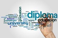 Concetto della nuvola di parola del diploma su fondo grigio Immagine Stock Libera da Diritti