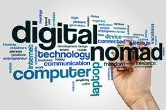 Concetto della nuvola di parola del nomade di Digital su fondo grigio Immagini Stock